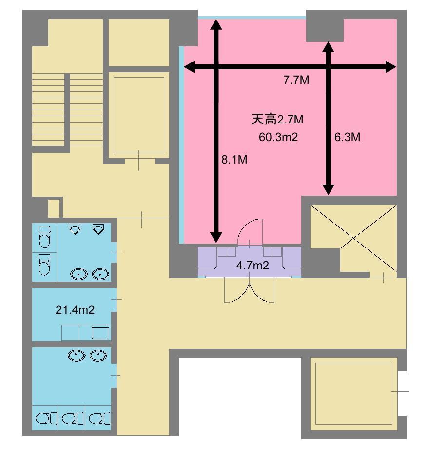 川崎レンタルスタジオ 平米数 図面 広さ